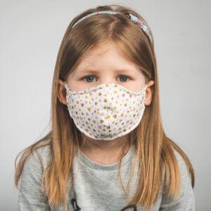 Kinder-Mundmaske MINIMON mit Herzen-Motiv Vorderansicht