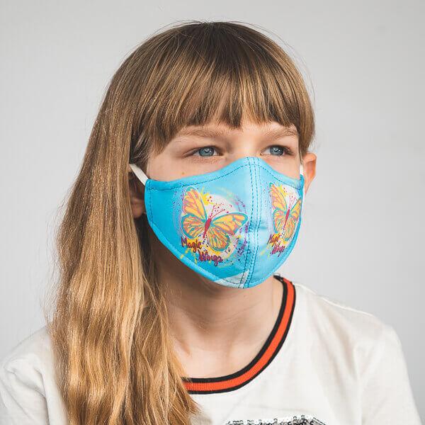 Kinder-Mundmaske MELI mit Schmetterling-Motiv, Mariposa Seitenansicht links