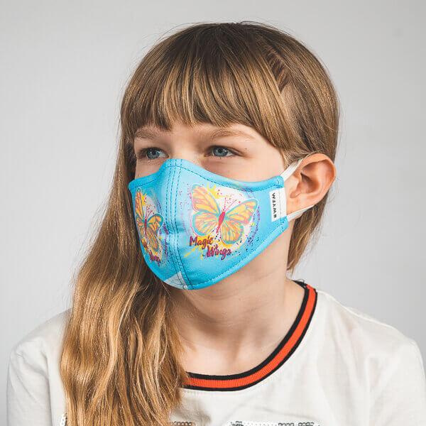 Kinder-Mundmaske MELI mit Schmetterling-Motiv, Mariposa Seitenansicht rechts