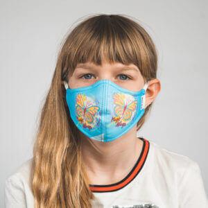 Kinder-Mundmaske MELI mit Schmetterling-Motiv, Mariposa Vorderansicht