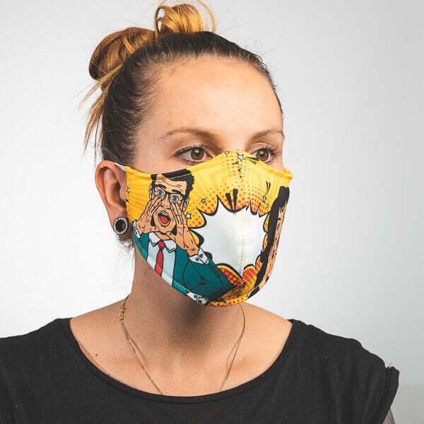 Mundmaske mit pop art sprechblase mann und frau Seitenansicht links