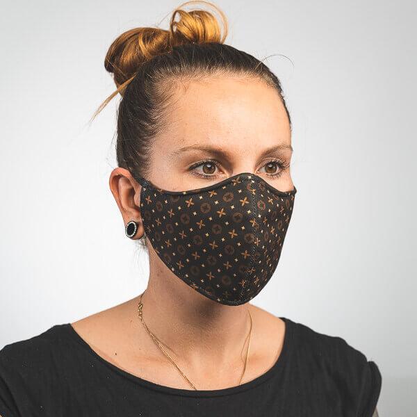 Mundmaske mit schwarz braunem Muster Luxus Seitenansicht links