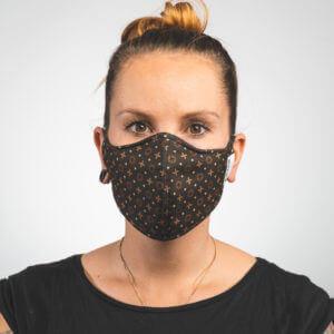 Mundmaske mit schwarz braunem Muster Luxus Vorderansicht